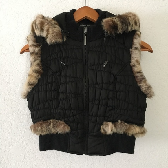 Guess Jackets & Blazers - Guess Quilted Fur Vest Removable Hood